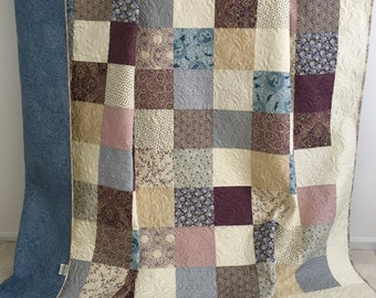 King Patchwork Quilt with Floral Fabrics Shades of Purple Blue Tan Ivory