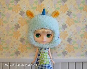 fuzzy unicorn hat for blythe doll, crochet mint green helmet hat, yellow ears, peacock blue felt horn