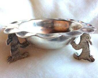 Vintage Handmade & Hallmarked Sandborns Sterling Silver Coyote Dish