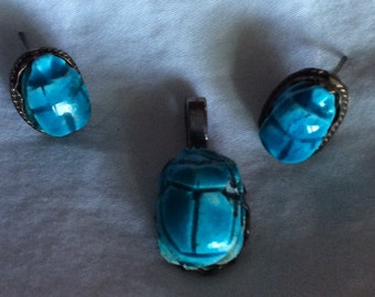 Beautiful Old Egyptian Blue Scarab Earrings & Pendant in Sterling Silver