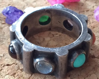 Vintage Handmade Native American Multi Stone Ring Band Size 5