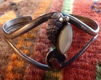 Vintage Native American Sterling Silver & Stone Cuff Bracelet