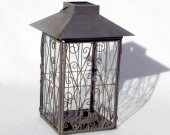 Candle Lantern - Rustic Shabby Chic Metal with Glass Panels and Latching Door - Turkish Ottoman - Moroccan Style - Vintage Home Decor