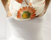 Floral Infinity Loop Summer Scarf Cotton Scarf  Ivory Spring Scarf Women's Fashion Accessories for her  summer fall  fashion accessories