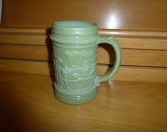 1910 Westmoreland Greentown Slag Glass Stein  Green  Slag  Milk  Custard Glass Gnomes #5  Mug