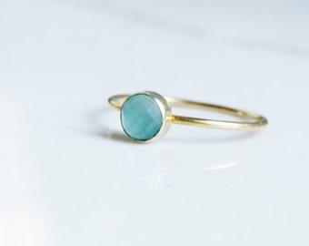 Aqua Blue Chalcedony Gold Filled Ring - 4mm