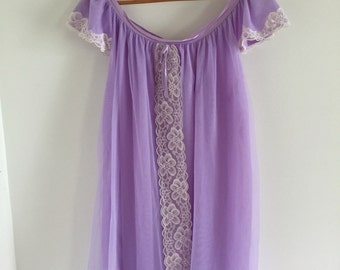 60's Shortie Lilac Chiffon and White Lace Babydoll Nightie M L