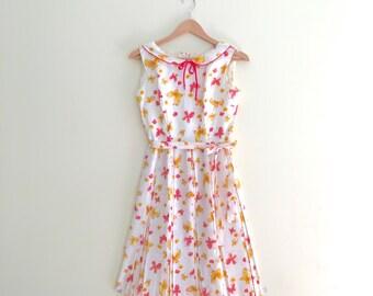 Vintage Butterfly Print Day Dress  / Peter Pan Collar Dress / Pink & Yellow Full Skirted Dress / Novelty Print Dress - 1950s