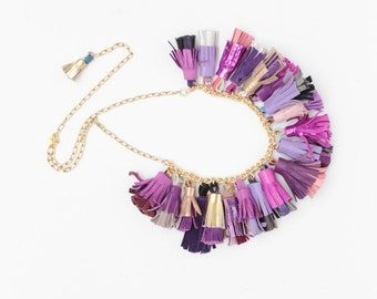 BOUQUET 68 / Mixed color natural leather tassel statement everyday necklace in pastel shades - Ready to Ship