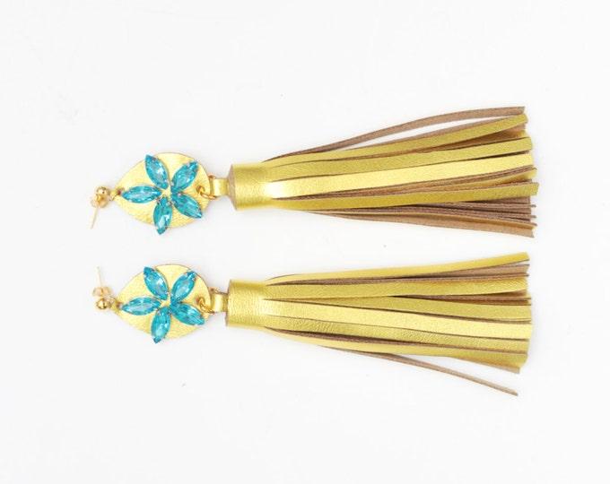 Oversized tassel earrings. Leather tassel earrings. Statement earrings. Tassel jewelry. Long tassels. Fringe earrings. Gemstones./MIRACLE 16