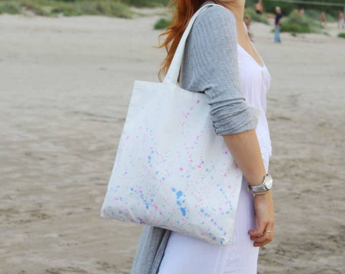 Cotton tote bag-shopping bag-carry all tote-hand colored tote bag-splashes tote purse-pastels -ready to ship-one of a kind/SIMPLE TOTE 12