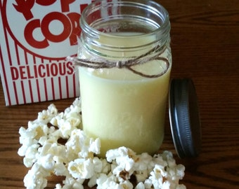 Movie Night // Buttered Popcorn Scented Candle // 16 oz. Mason Jar