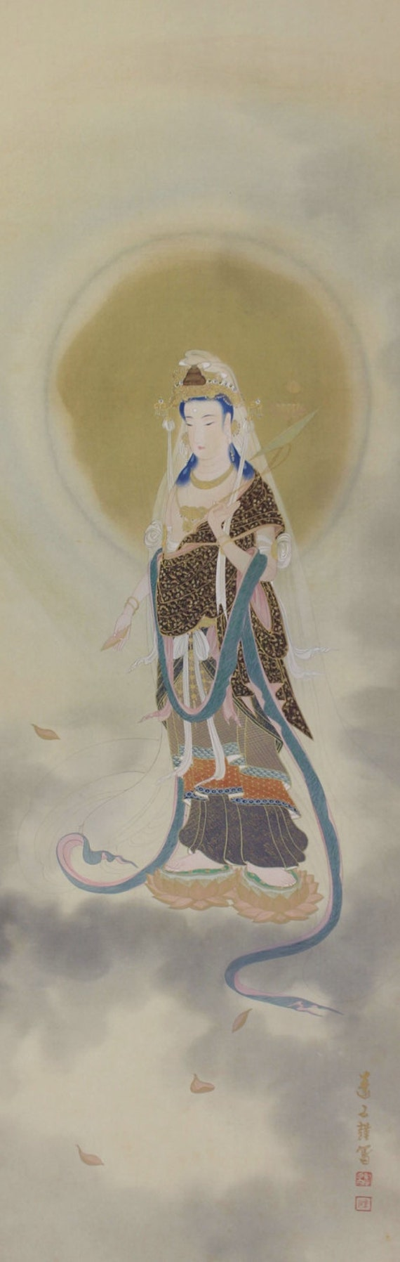 Japanese Fine Art Buddhist Art Wall Hanging Scroll Painting Kanzeon Guanyin the Goddess of Mercy Kakejiku - 1503149