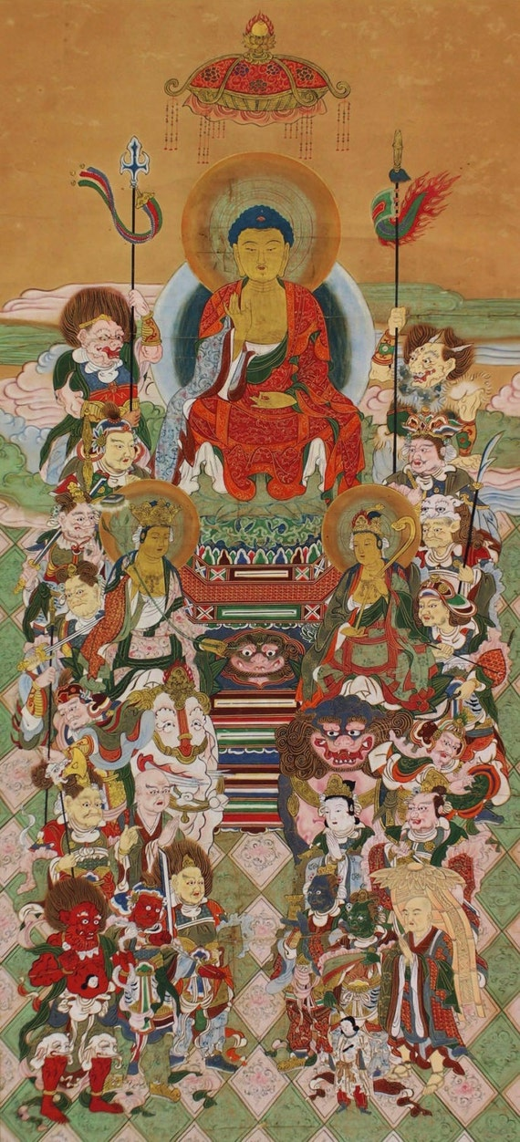 Japanese Fine Art Wall Hanging Scroll Buddhist Art Sixteen Good Spirits Deity Kakejiku – 1512107