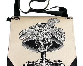 La Catrina, skeleton, satchel, messenger bag, Dia de los Muertos, Day of the Dead