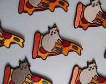 Pizza cat embroidered patch - Iron on patch - sew on patch - cat patch - cat iron on patch - I like cats - pizza patch - pizza- cat -