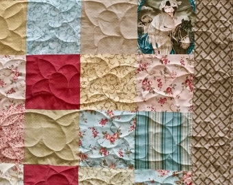 "Patchwork Quilt Lap or Sofa Size 58"" x 60"