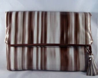 Leather Clutch,  Patent Leather Striped Purse, Glossy Leather Brown Multi Striped Clutch, Leather F/O Clutch, Leather Shoulder Bag