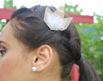 Rustic Burlap White Feather Hair Clip
