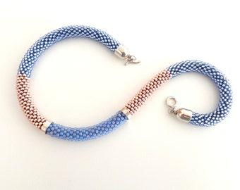 Rose Quartz Necklace // Beaded Necklace // Pantone Colors 2016 // Blue Serenity Necklace // Crochet Rope Necklace // Statement Necklace