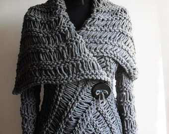 Sweater ,woman handmade gray sweater, unique knitting,art to wear Autumn Winter Cardigans Wrap Casual Sweater