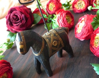"""Handcarved Statue Horse Brass Inlay Collectible Animal  6"""" Tall Pony Figurine Inida Asian Style Deco photo-holder"""