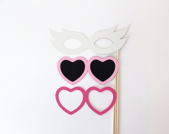 Photo Booth Glasses Open heart, Closed Heart sunglasses, and Mask