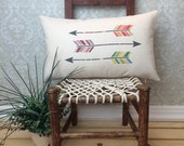 Three Arrows Oblong Pillow, Arrowhead Pillow, Gift, Home Decor, Colorful Arrowheads, Decorative Pillow, Native Art