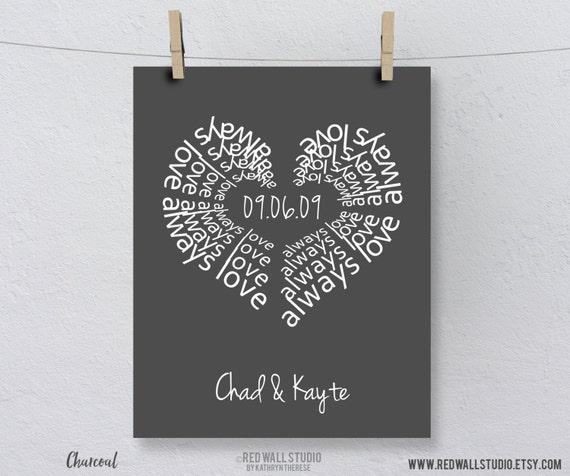 Anniversary Gift For Husband, Boyfriend, Wife - Anniversary Print - Personalized Engagement Gift,  Anniversary Gift - Love Heart Art Print