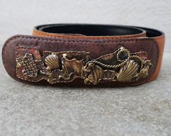 Vintage Brown Leather Waist Belt, Brown Waist Belt, Unique Belt, Metal Work, One of a Kind
