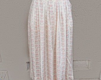 Vintage Floral Maxi Skirt, White and Pink Floral Skirt, Mid Length Skirt, Ivory Silk Skirt, Long Silk Skirt, Floral Silk Skirt, Conservative