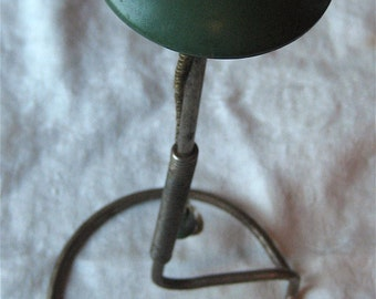 Metal and Wood Hat Stand - Vintage Green Wood-Top Upright Hat, Wig Holder with Round Metal Base - Antique Hat Display Tabletop or Shelf