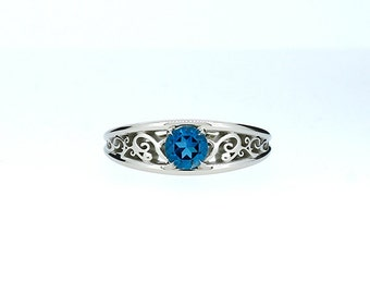 London blue topaz ring, filigree engagement ring, white gold, solitaire, blue topaz engagement, lace ring, wedding ring, teal filigree rings