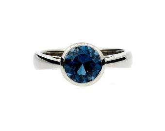 2.50ct, London blue Topaz, engagement ring, white gold, London blue, topaz ring, blue engagement, bezel, solitaire