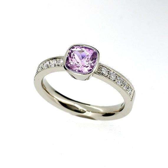 cushion cut light violet amethyst ring engagement ring