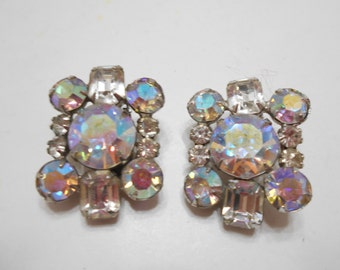 Vintage Austrian Crystal Clip Earrings (3610)