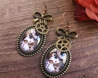 Steam T earrings // Cabaret burlesque // Handmade
