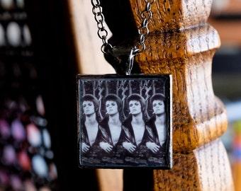 Rebel Rebel - David Bowie necklace handmade resin photo pendant square gunmetal silver 70s Ziggy Stardust