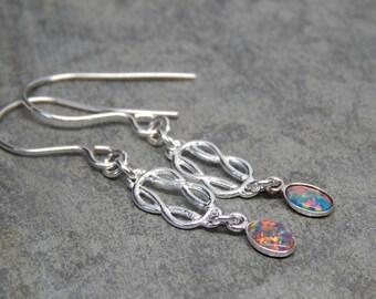 Opal earrings, sterling silver