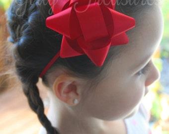 Present Satin Bow Headband. Baby Headband. Newborn Headband. Infant Headband. Girl Headband. Christmas Headband. Present Bow Headband.