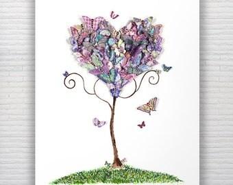 A3 Watercolour Butterflies Print Home Decor Girls Room/Teenage/Nursery Art Living Room Art Fantasy Tree Butterfly Art Love Heart Art Purple