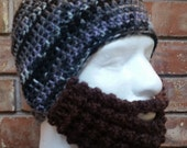 Crochet Bearded Skullcap - Beard Hat - Grey, Black and Pink Striped Hat With Beard Face Warmer - Ready To Ship!