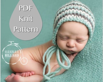 PDF Knit Pattern #0002 Newborn Classic Knit Tri-Color Bonnet - Welcome to sell finished items