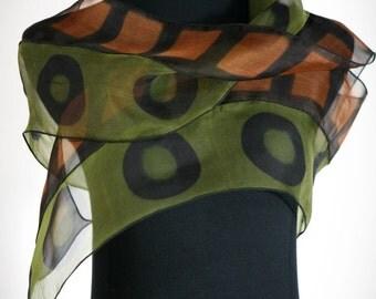 Shibori Silk Scarf Hand Dyed Olive Silk Organza