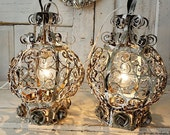 Electric lanterns lighting French farmhouse painted gray white rusty hanging lantern light set shabby cottage chic rare anita spero design