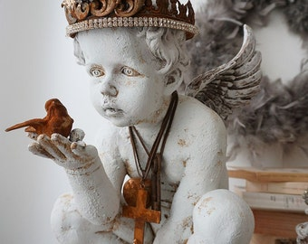 Cherub angel statue holding bird French Santos rusty handmade crown distressed angelic figure French farmhouse home decor anita spero design