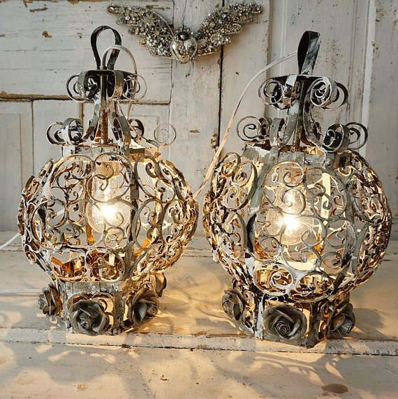 Electric lanterns lighting French farmhouse painted gray white