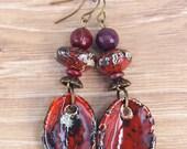 Deep Red earrings, Tribal Organic Jewellery, Rustic jewelry, Ooak, Round or Triangle pendant, Rustic drop earrings, Handmade ceramic charm