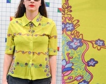 GROOVE Sheer India Floral Short Sleeve Button Up Women's Lime Green Purple Striped Flower Print Neon Shirt Blouse Top Polo paris Medium
