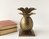 Vintage Solid Brass Pineapple Bookends, Library Accessory for the Book Lover, Tropical Decor